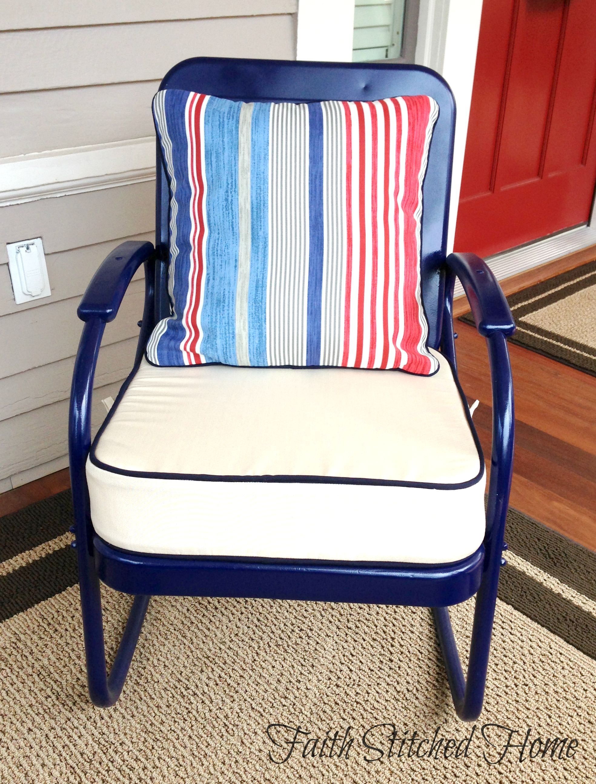 Upholstered Cushions For A Vintage Metal Porch Set