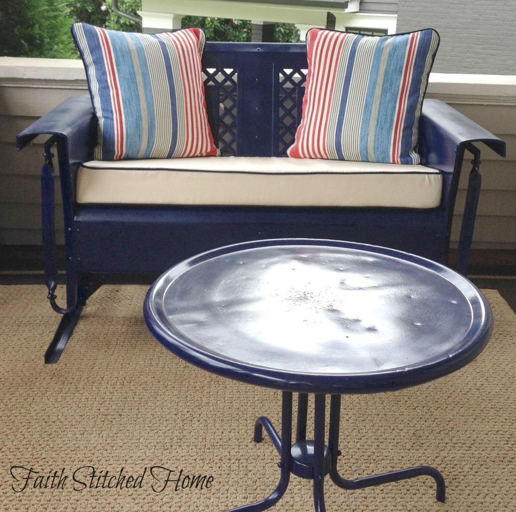 Vintage porch glider with table