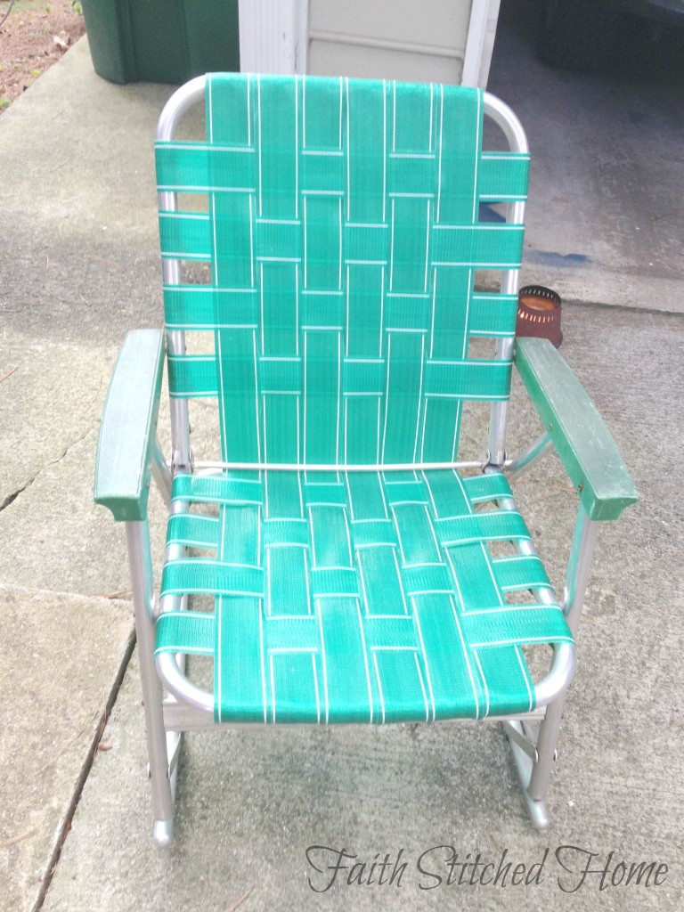 repairing a vintage webbed lawn chair faith stitched home. Black Bedroom Furniture Sets. Home Design Ideas