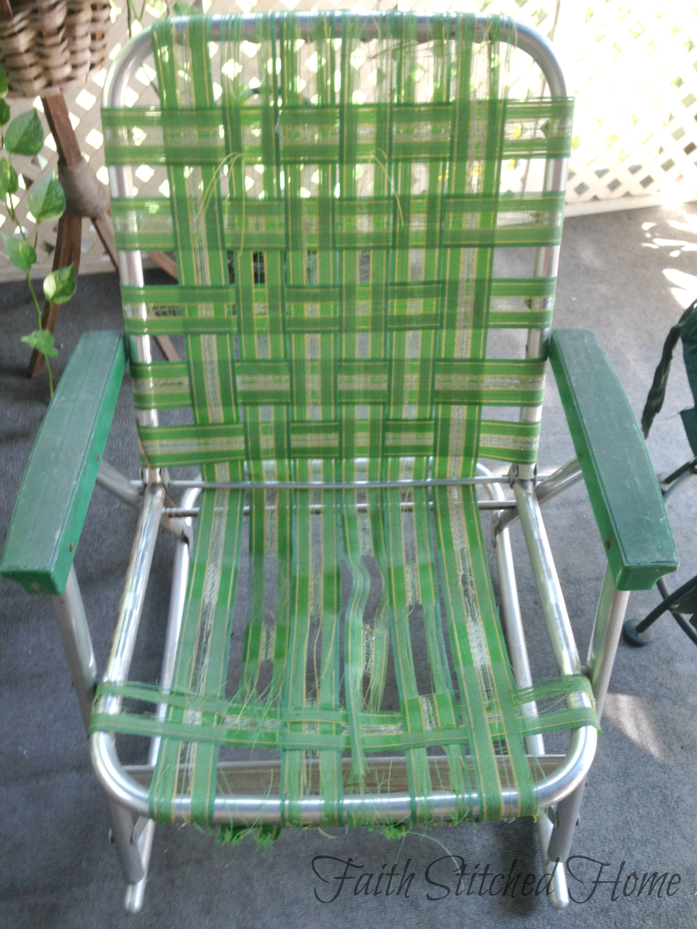 Repairing a Vintage Webbed Lawn Chair