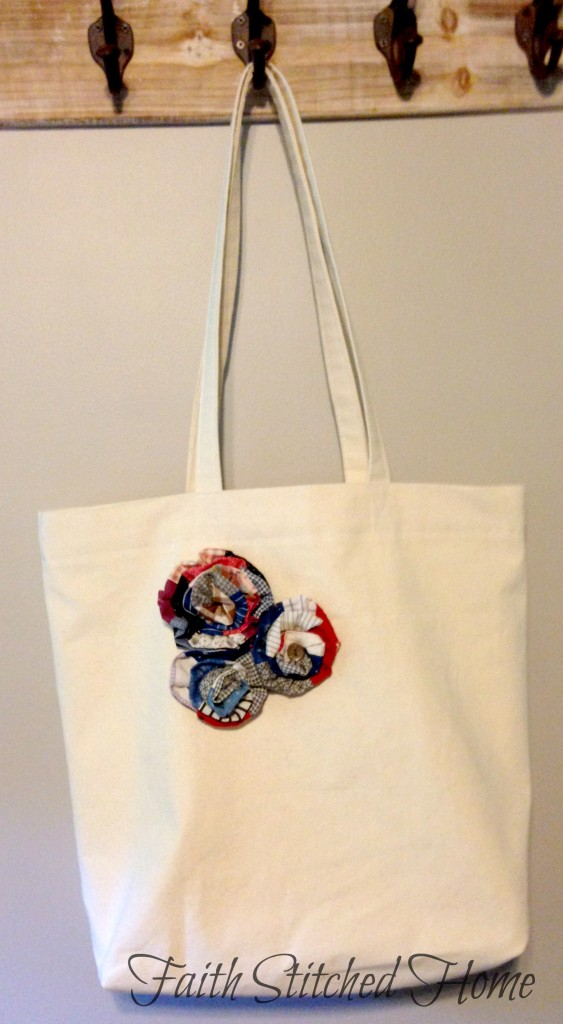 Canvas tote with patchwork rose