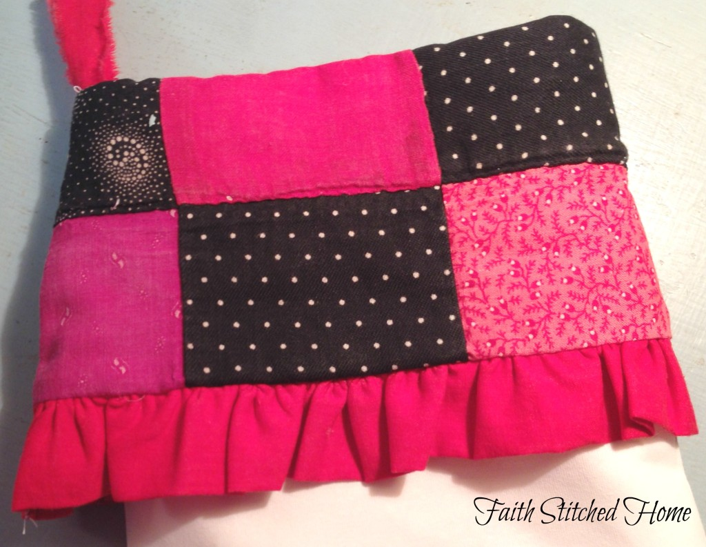 Christmas stocking cuff - vintage quilt