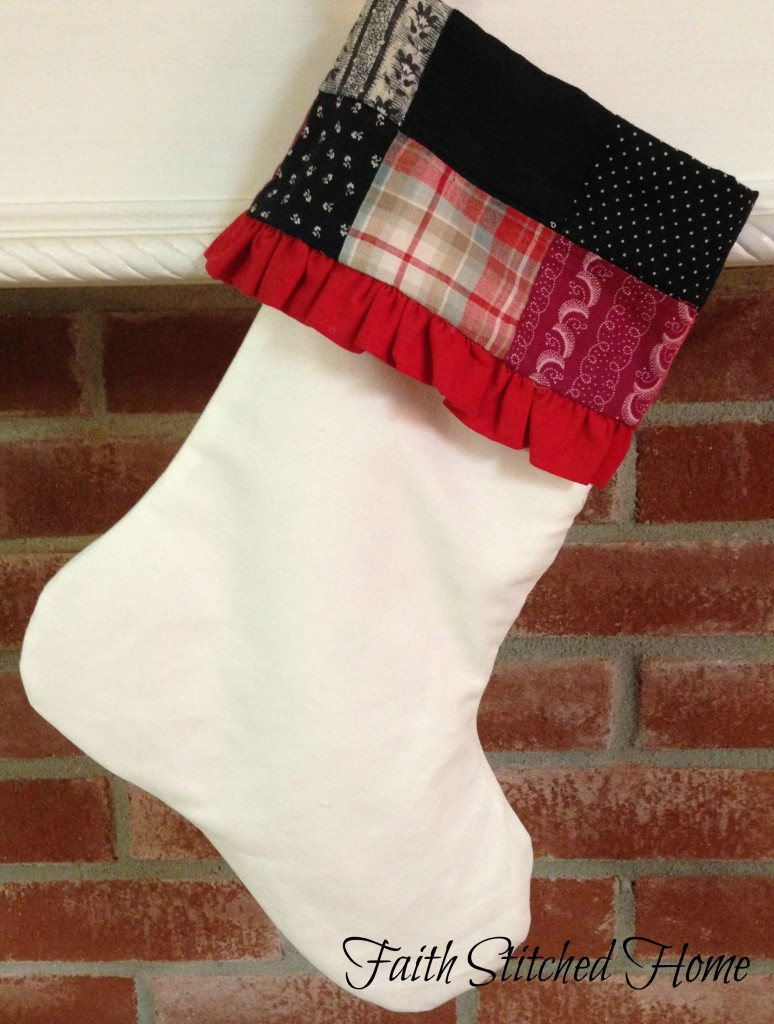 Christmas stocking - vintage quilt