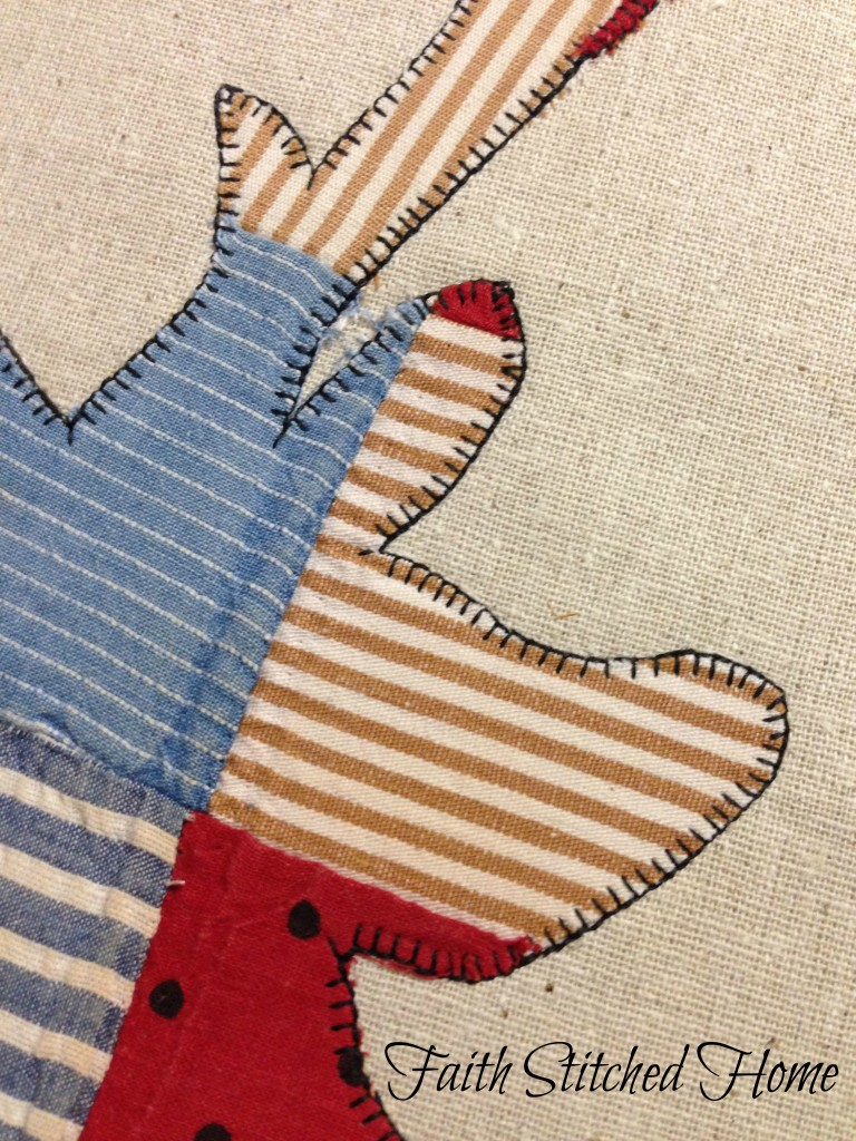 Deer head closeup - vintage quilt