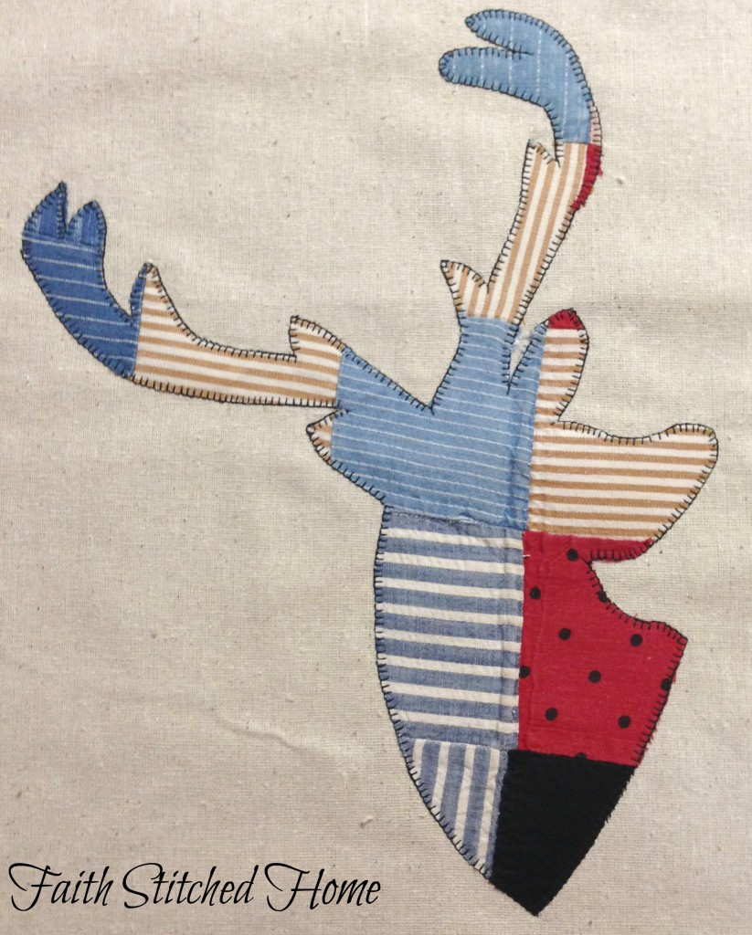 Deer head - vintage quilt