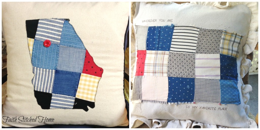 Georgia and patchwork pillow - vintage quilt