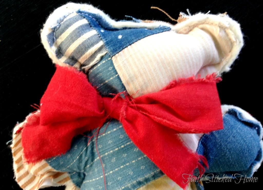 Patchwork bear closeup - vintage quilt softie