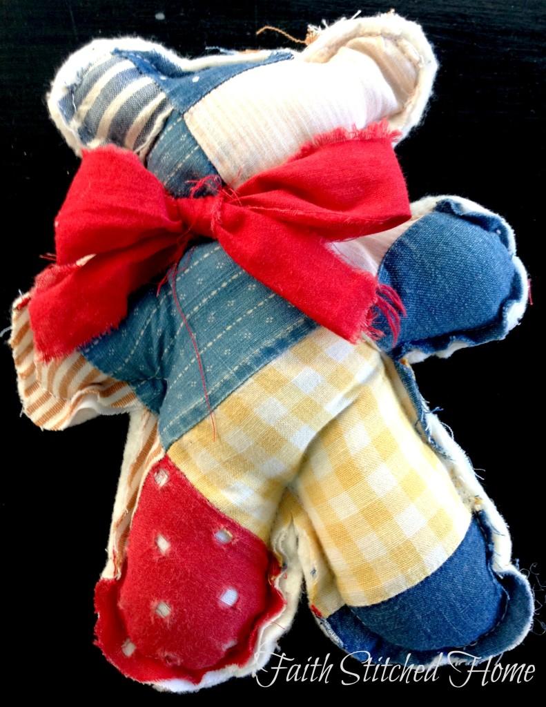 Patchwork bear - vintage quilt softie 2
