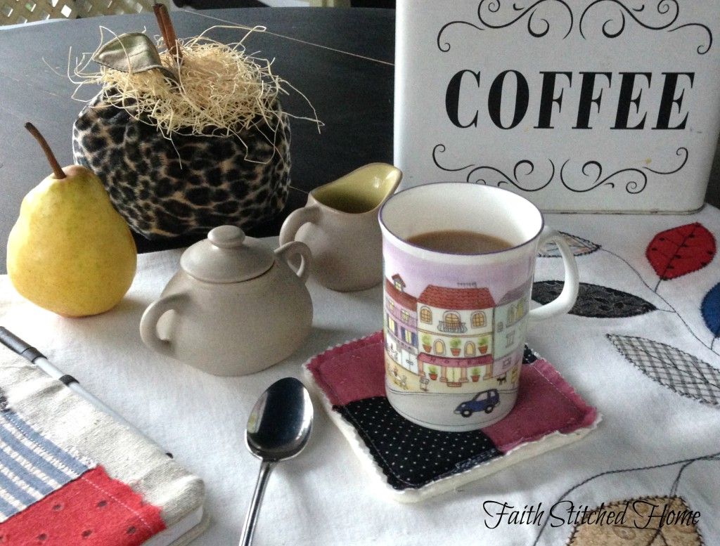 Patchwork coaster with coffee cup