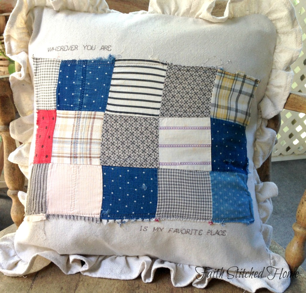 Patchwork pillow - vintage quilt