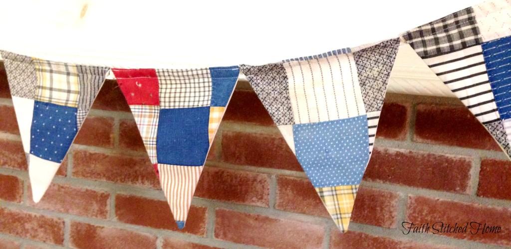 Pennant banner - vintage quilt