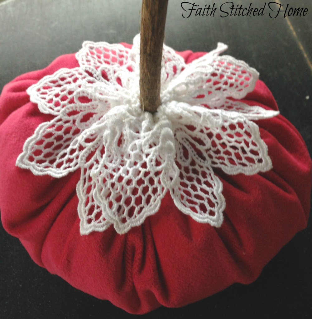 Pink fabric pumpkin with lace