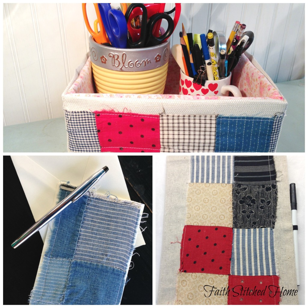 Storage box, note card, and notebook cover - vintage quilt