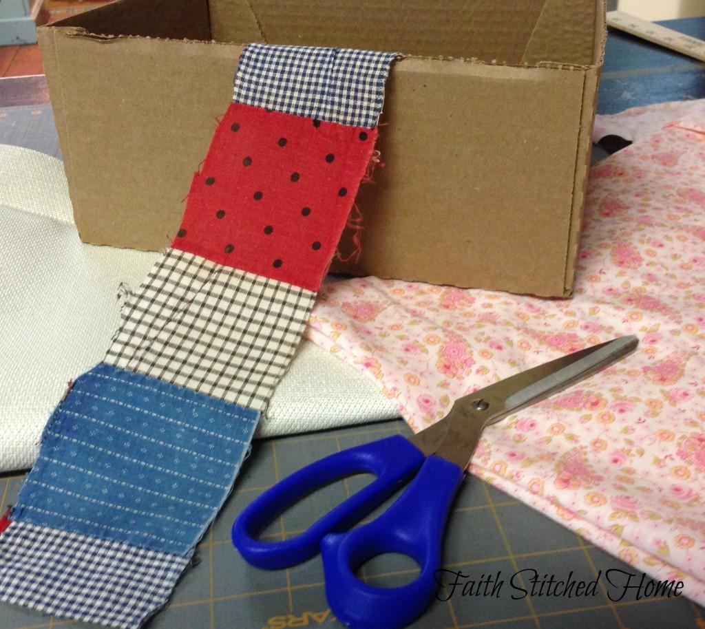 Storage box supplies - vintage quilt