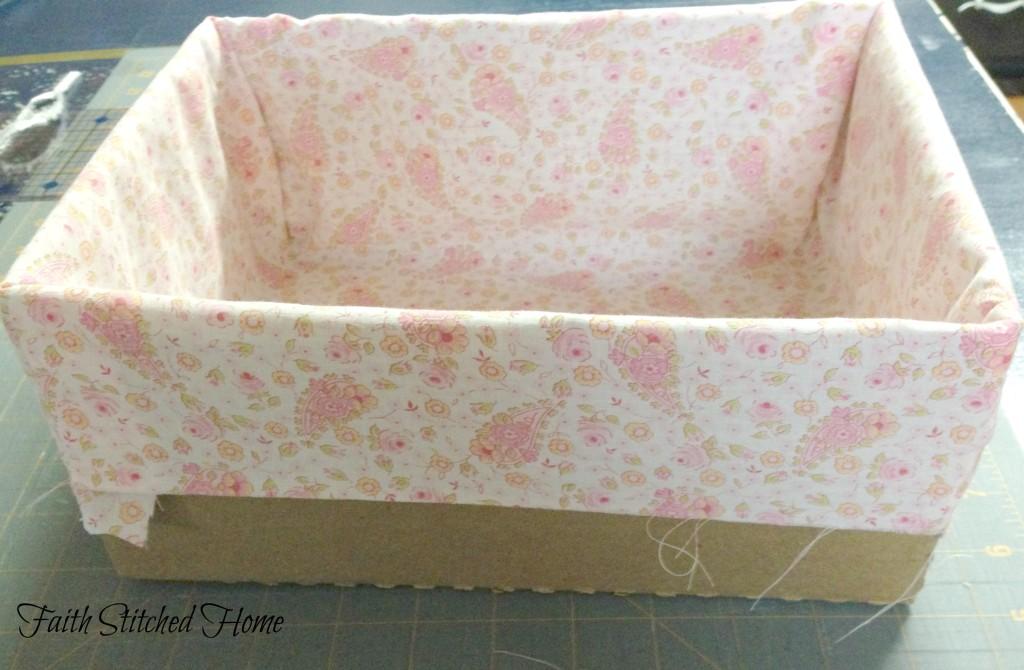 Storage box - vintage quilt lining