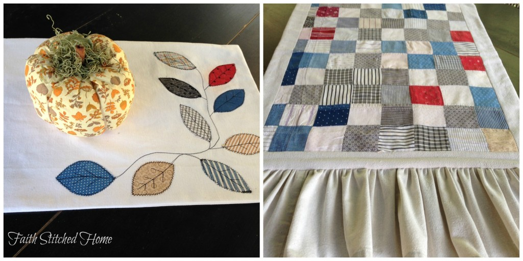 Table mat and runner - vintage quilt