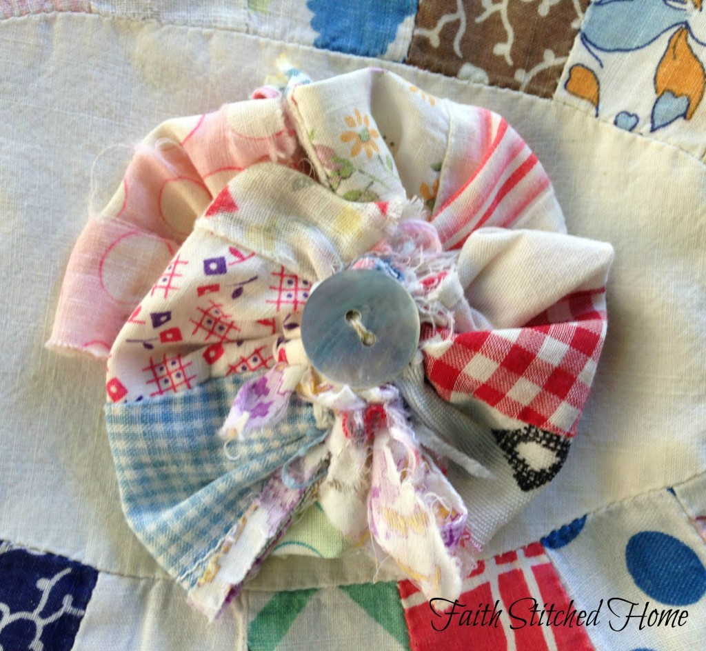 Vintage quilt pinwheel flower