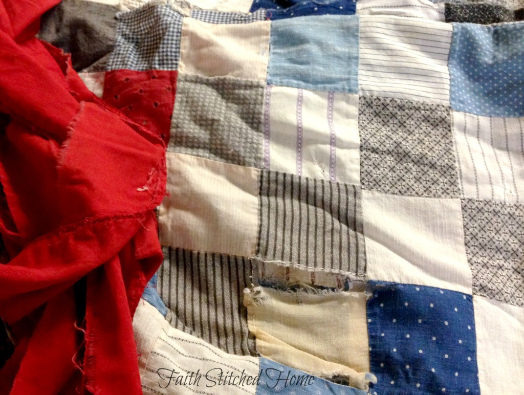vintage patchwork quilt - red binding
