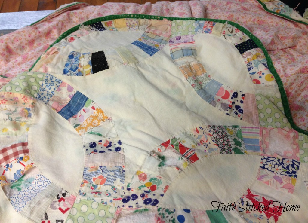 vintage wedding ring quilt with backing