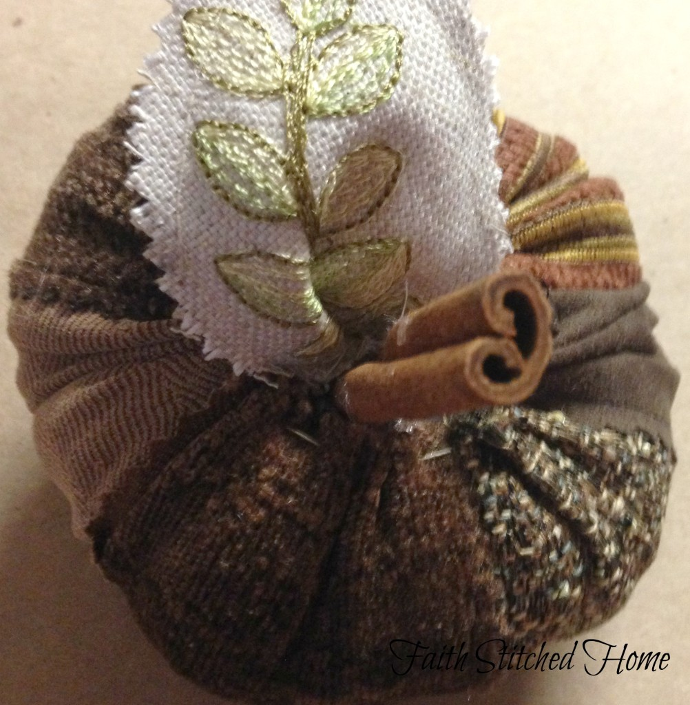 Pumpkin - fabric swatch with stem and leaf