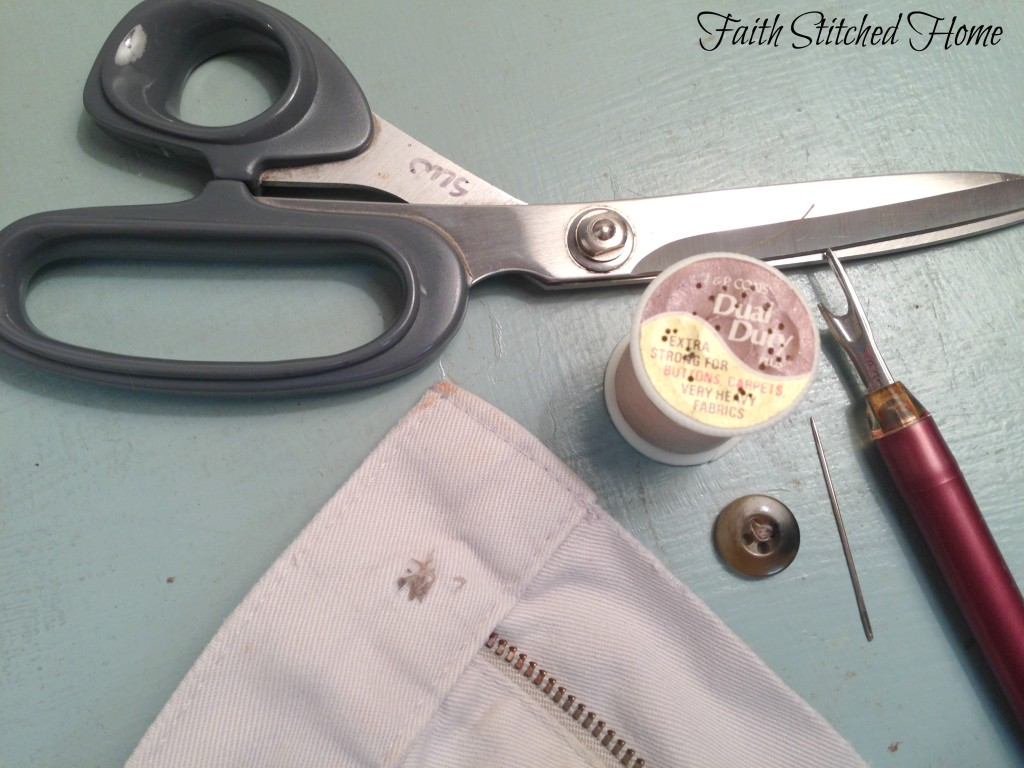 Sewing on a button - supplies