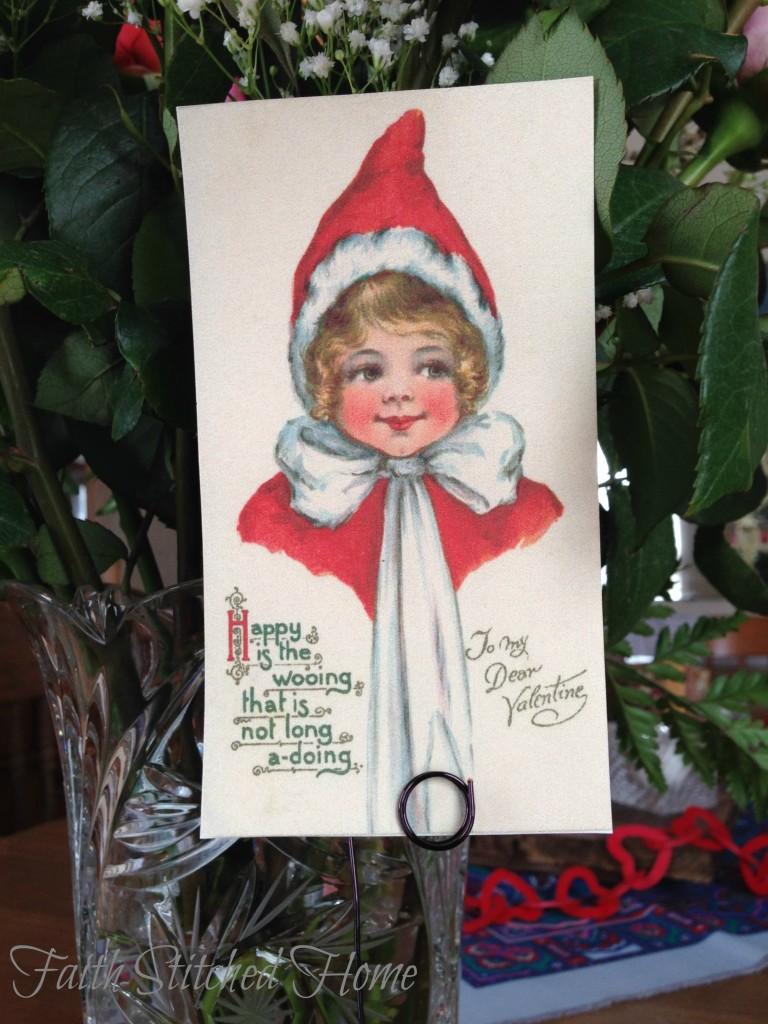 Vintage valentine - Winter girl in Santa hat