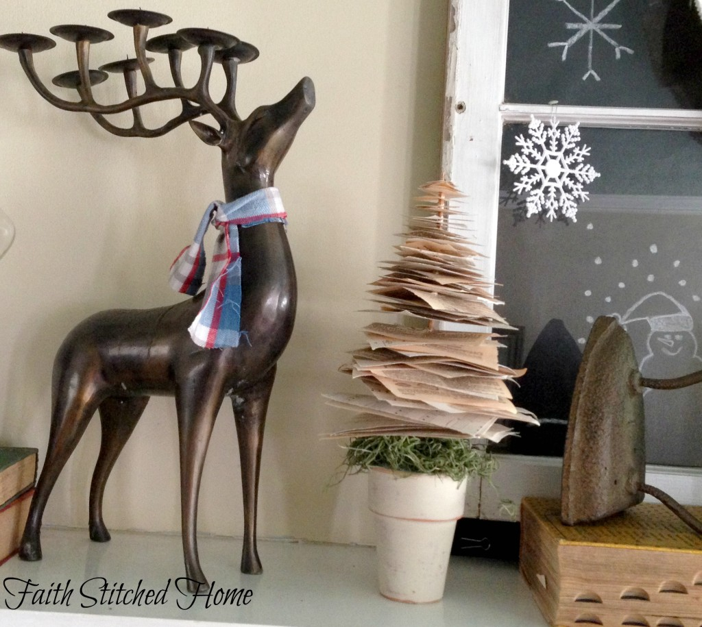 Winter mantle - reindeer, paper tree, antique iron
