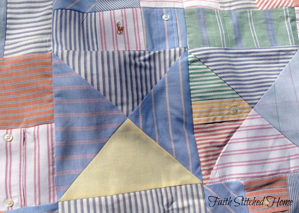 Oxford shirt quilt blocks