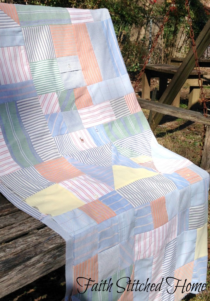 Oxford shirt quilt on the swing