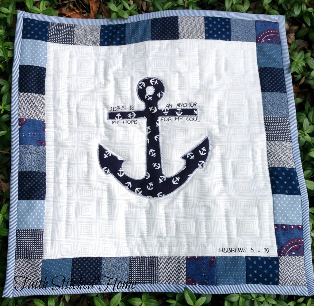 Quilted prayer square - anchor