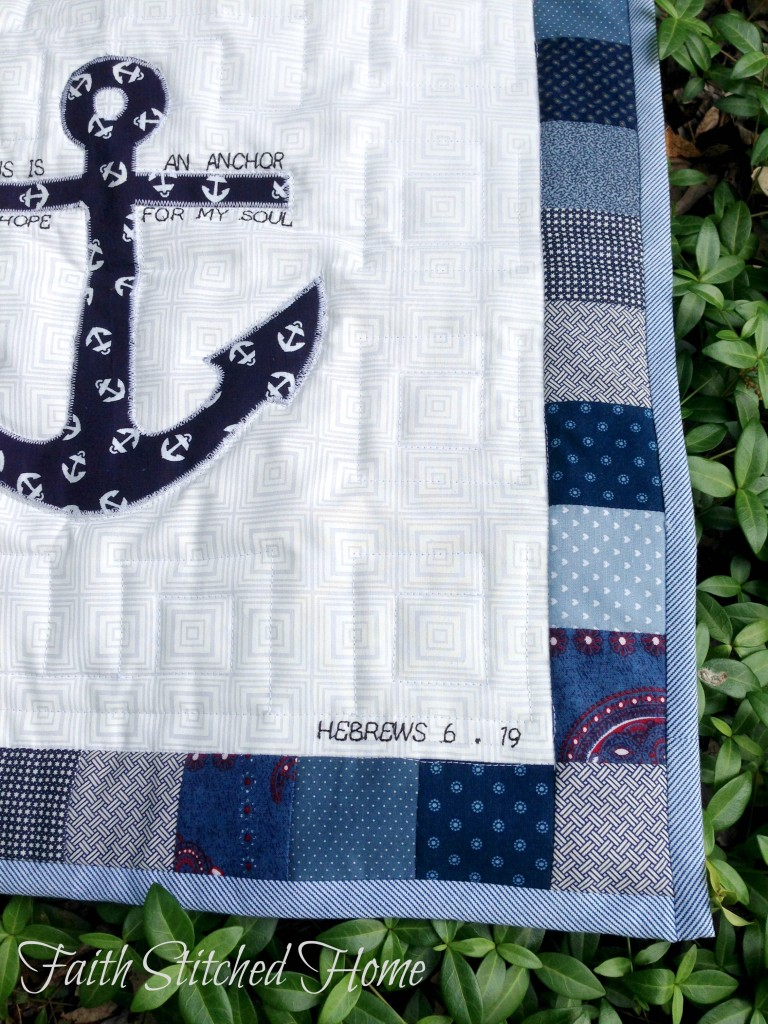 Quilted prayer square - anchor closeup scripture