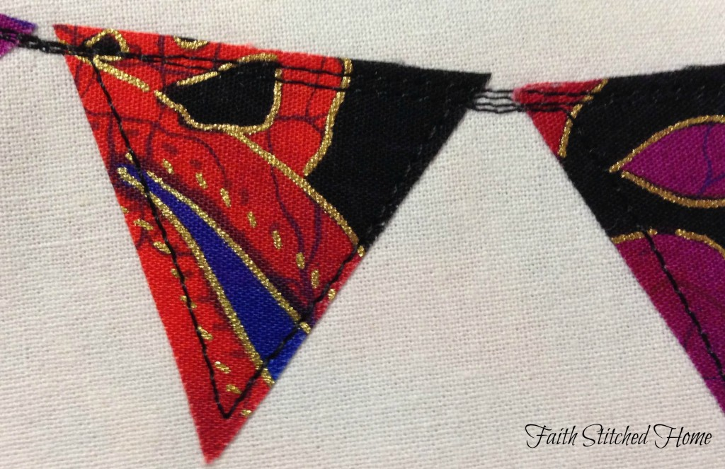 Zipper bag - raw edge applique pennant flag