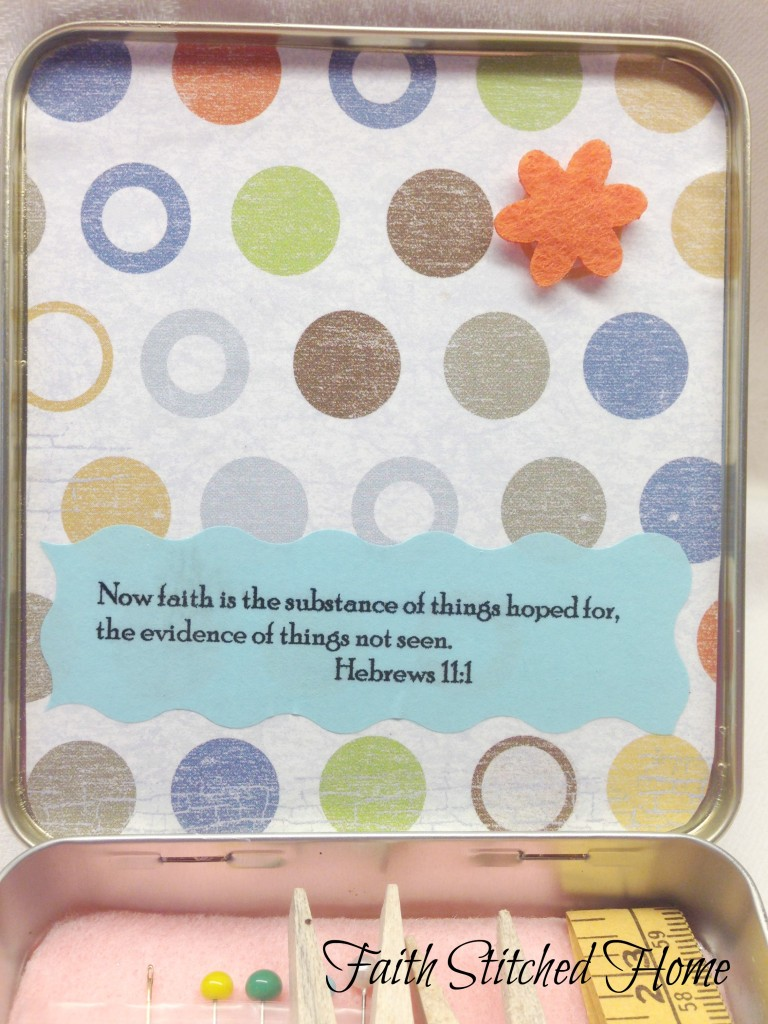 Sewing kit tin lid - scripture verse