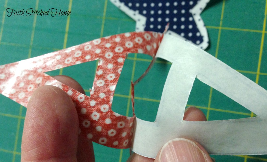 USA banner - pattern fused, cut, backing removed